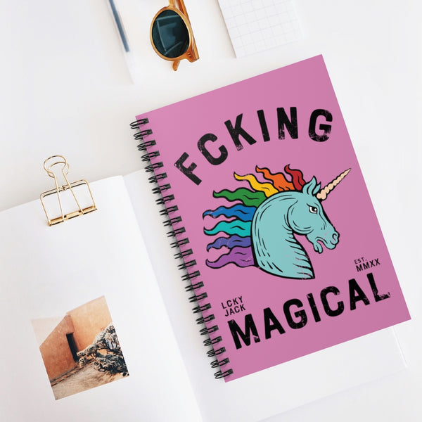 Fcking Magical (rainbow unicorn) by LCKY JACK. Spiral Notebook - Ruled Line, cool, vintage style rainbow unicorn notebook, pride, LGBTQ notebook