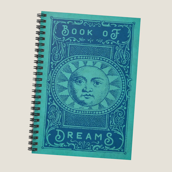 The Book of Dreams by LCKY JACK. Spiral Notebook - Ruled Line, cool vintage style sun, moon