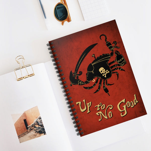Up To No Good by LCKY JACK. Spiral Notebook - Pirate Crab, cool notebook, back to school, journal