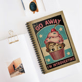 Go Away - I'm Introverting by LCKY JACK. Spiral Notebook - vintage style graphic, cupcake, cute notebook, shy girl, pink cupcake, back to school