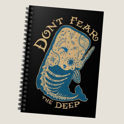 Don't Fear the Deep by LCKY JACK. Spiral Notebook - vintage tattoo, whale skeleton, sailor tattoo, cool notebook