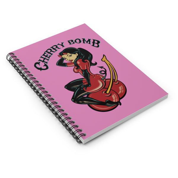 Cherry Bomb by LCKY JACK. Spiral Notebook - cool notebook, vintage style, tattoo flash design, pinup style, devil girl, cherry tattoo