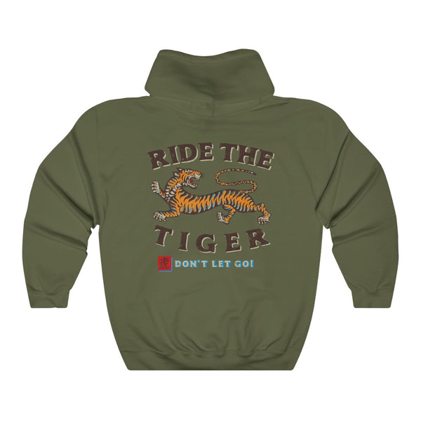 Ride the Tiger - by LCKY JACK (for Trixie & Milo) - Hoodie, motorcycle, biker, smiling tiger, retro