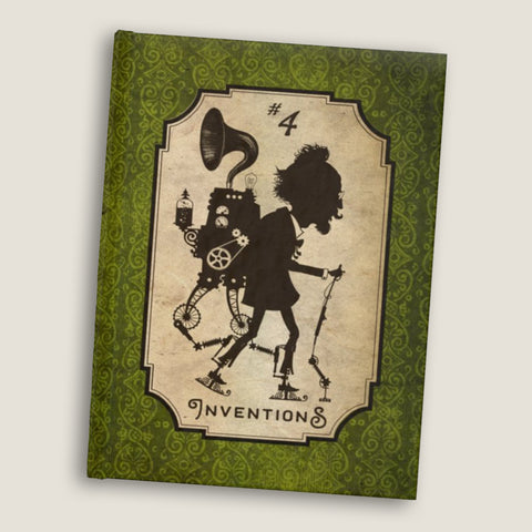 Inventions #4  - Blank pages journal / sketchbook by LCKY JACK, vintage style graphic, cute Victorian sketchbook, steampunk journal, back to school