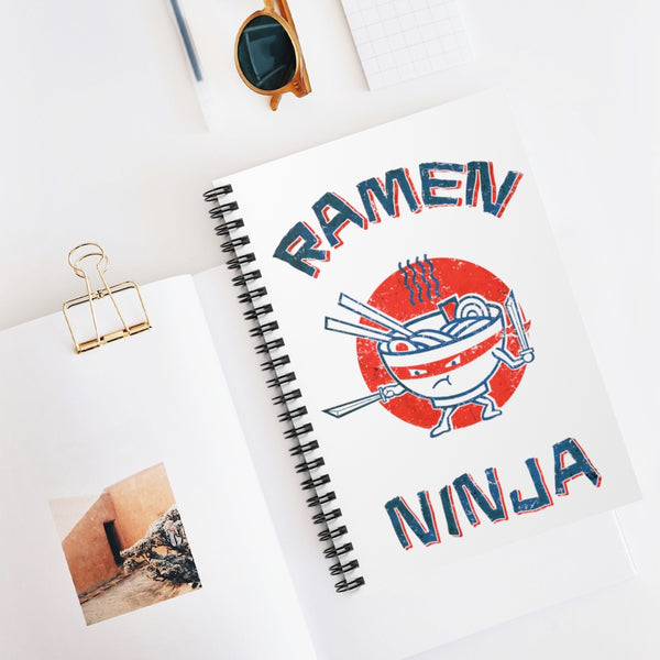 Ramen Ninja by LCKY JACK. Spiral Notebook - Ruled Line, cool, vintage style anime