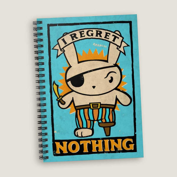 I Regret Nothing by LCKY JACK. Spiral Notebook - Ruled Line, vintage style graphic, Pirate notebook, pirate bunny, back to school