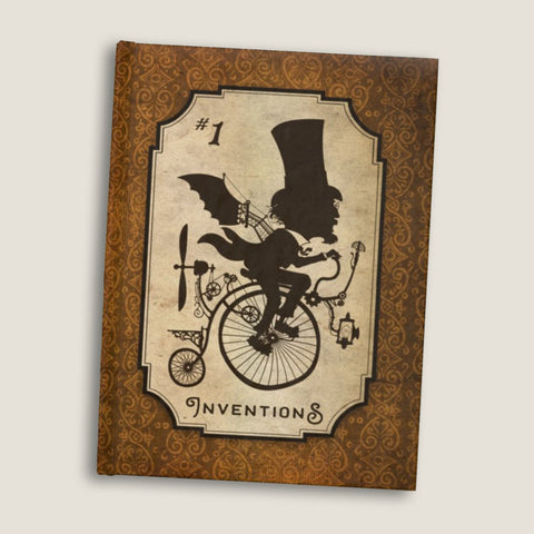 Inventions #1  - Hardbound blank pages journal / sketchbook by LCKY JACK, vintage style graphic, cute Victorian sketchbook, steampunk journal, back to school