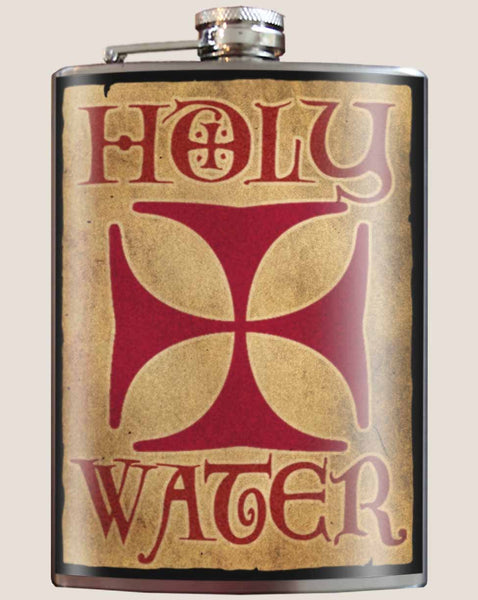Holy Water- Hip Flask Classic barware by Trixie & Milo. A perfect gift for men- creative barware idea, or bachelorette party gift.
