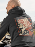 "Road to Hell ""Moto Club"" - by LCKY JACK (for Trixie & Milo) - Hoodie, Vintage motorcycle design, winged skull, retro motorcycle"