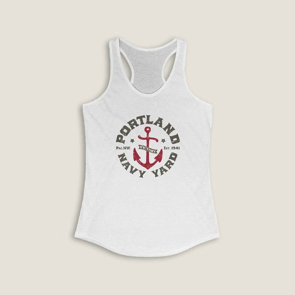 Portland Navy Yard (WW2) by LCKY JACK -Women's Racerback Tank work out top, anchor, vintage, distressed, shipyard, cool