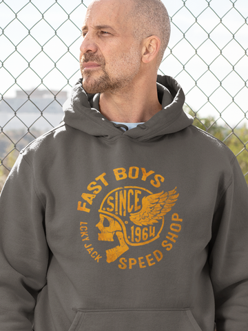 Fast Boys Speed Shop - by LCKY JACK (for Trixie & Milo) - Hoodie, Vintage motorcycle design, winged skull, retro motorcycle