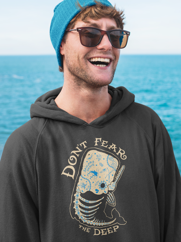 Don't Fear the Deep (tattooed whale)- by LCKY JACK (for Trixie & Milo) - Hoodie, Tattoo style, Sailor hoodie, whale design