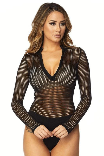 SHADOW ZIP BODYSUIT in BLACK