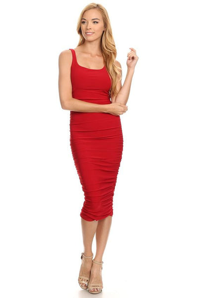 RUCHED SIDE MIDI DRESS in RED - Bikini Junkie