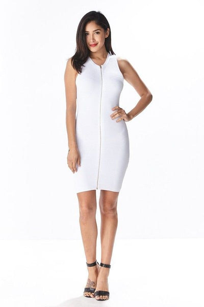 ZIP IT BODYCON DRESS in WHITE - Bikini Junkie