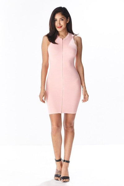 ZIP IT BODYCON DRESS in BLUSH - Bikini Junkie