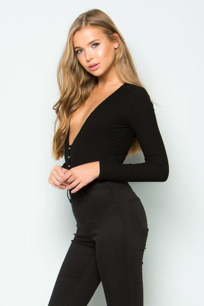 PLUNGE SNAP RIBBED BODYSUIT in BLACK - Bikini Junkie