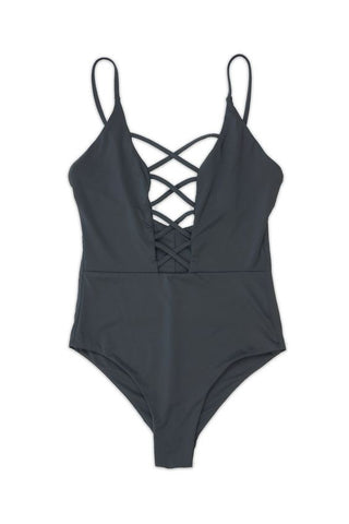 SEAMLESS CAGED FRONT ONE PIECE in BLACK