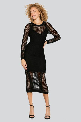 OPEN KNIT SWEATER DRESS in BLACK - Bikini Junkie