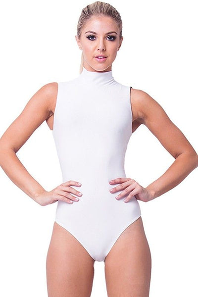 SLEEVELESS MOCK NECK BODYSUIT in WHITE - Bikini Junkie