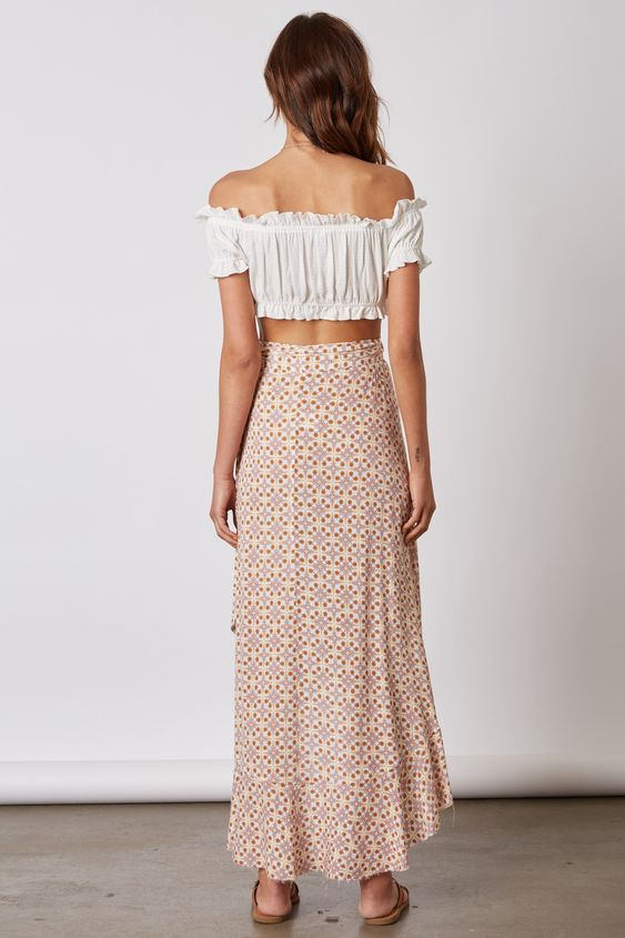 SUNBEAM MAXI SKIRT in HONEY - Bikini Junkie