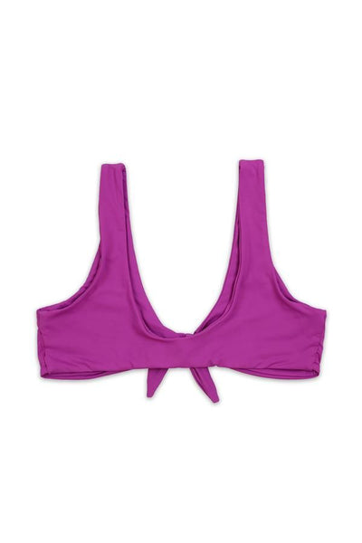 TIE FRONT KNOT BIKINI TOP in ORCHID