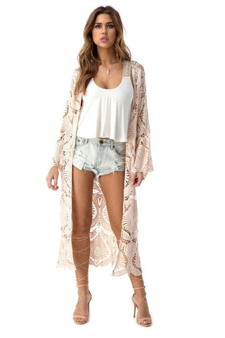 SKY THORNTON LACE DUSTER in BLUSH - Bikini Junkie