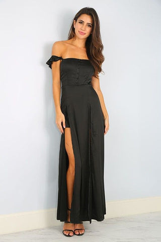 SATIN SLIT MAXI DRESS in BLACK - Bikini Junkie