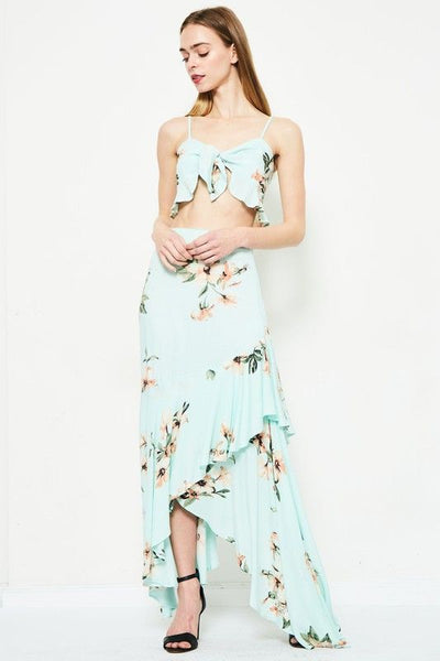 WILLOW MAXI SKIRT in MINT GREEN