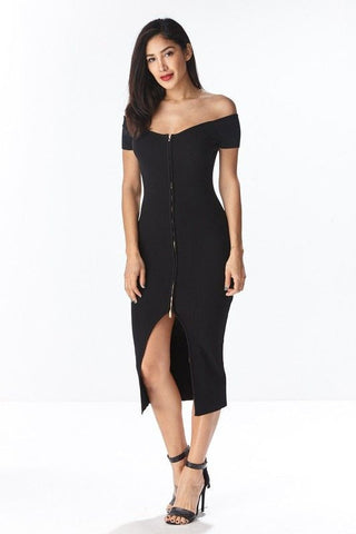 OFF-SHOULDER ZIP FRONT MIDI DRESS in BLACK - Bikini Junkie