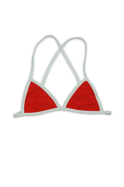 RIBBED CROSS BACK FIXED TRI TOP in RED