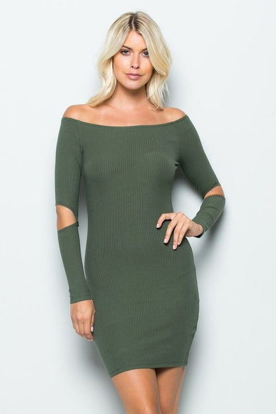 OFF-SHOULDER CUT-OUT BODYCON DRESS in ARMY GREEN - Bikini Junkie