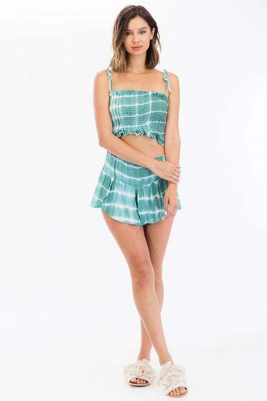 PARADISE SMOCKED CROP TOP in SEA GREEN