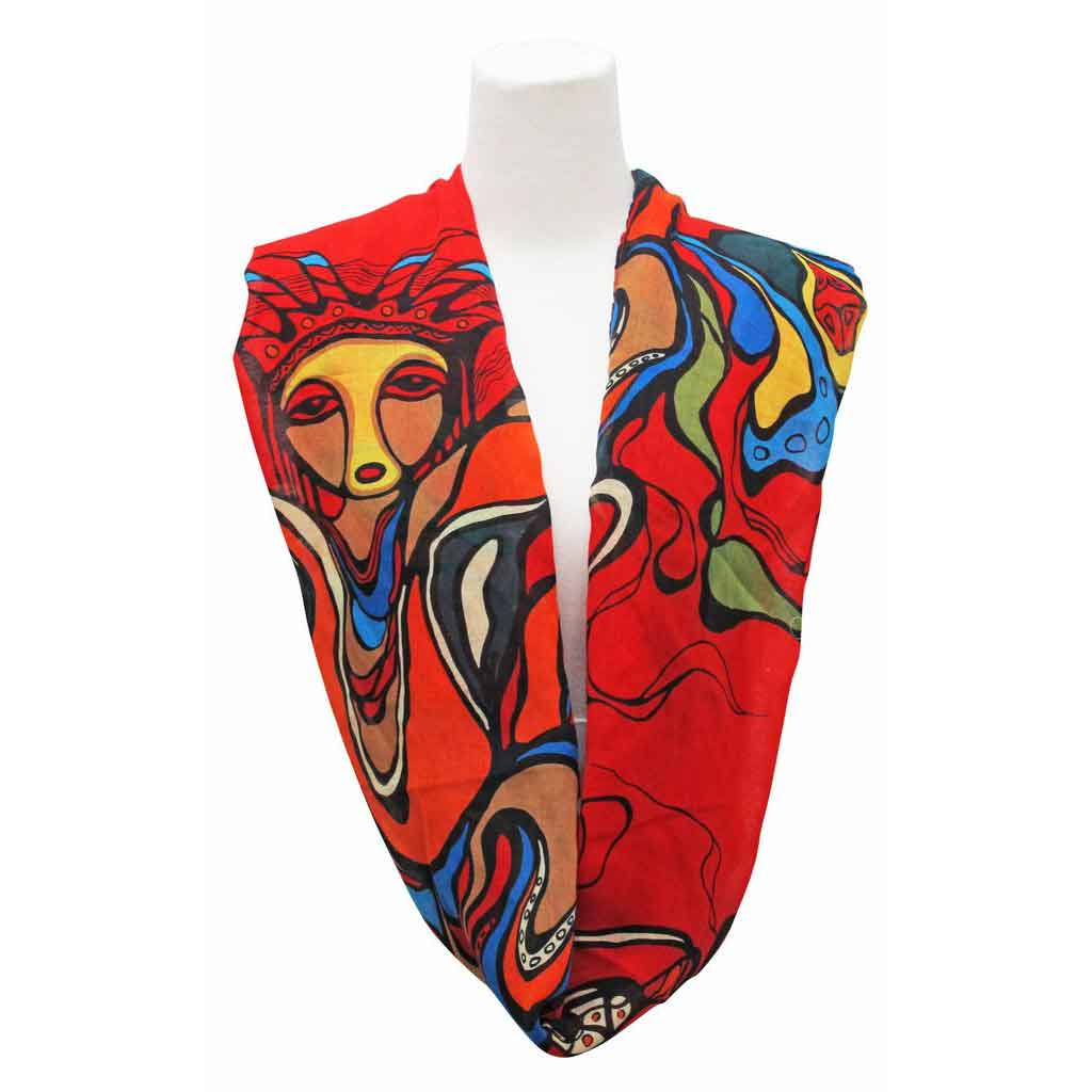 Pow Wow Dancer Infinity Scarf-Shawl Designed by Daphne Odjig