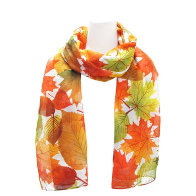 Fall Leaves White Polyester Scarf