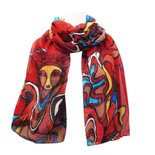 Load image into Gallery viewer, Pow Wow Dancer Scarf designed by Potawatomi Artist Daphne Odjig