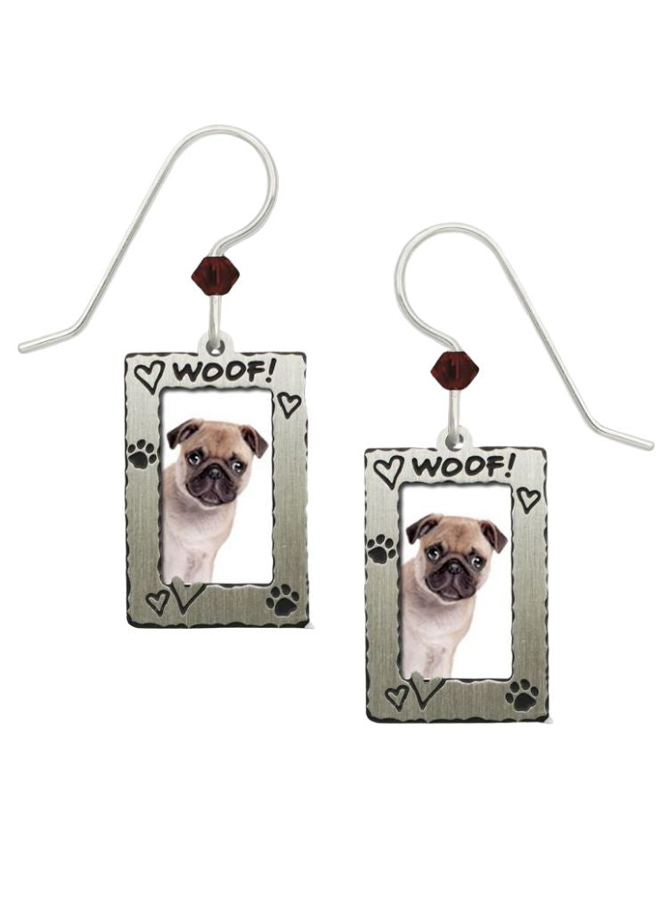 Sienna Sky Earrings - Pug in Woof Frame