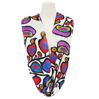 Woodland Floral Infinity Shawl by Ojibwa Artist Norval Morrisseau