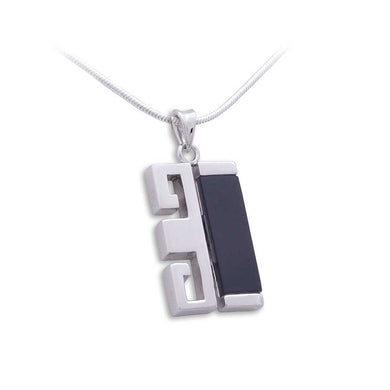Zen Pendant - Single Happiness in Rhodium Plated Sterling Silver with Black Agate