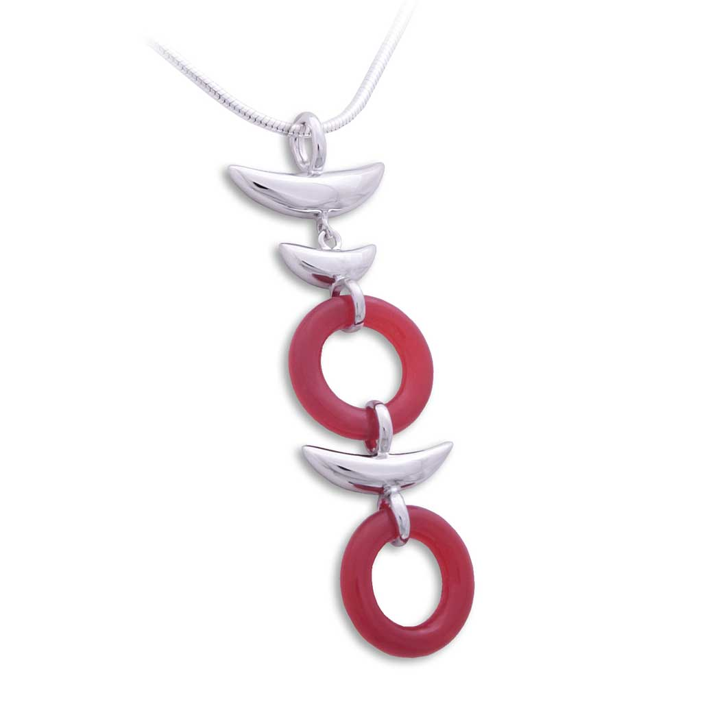 Zen Pendant - Heaven and Earth in Rhodium Plated Sterling Silver with Red Agate