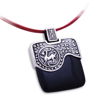 Zen Pendant - Forbidden City Qin Dynasty in Oxidized Sterling Silver with Black Agate