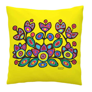 Floral on Yellow Pillow Cover by Ojibwa Artist Norval Morrisseau