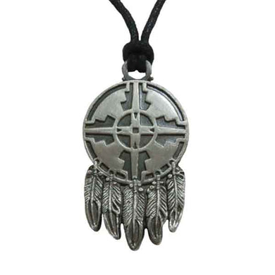 Pewter Pendant Necklace with Adjustable Cord - Four Directions with Feathers