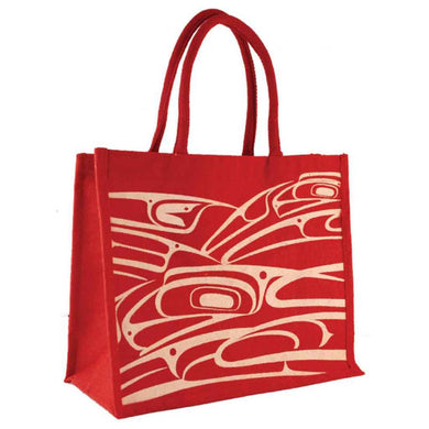 Jute Tote with Raven Design by Connie Dickens