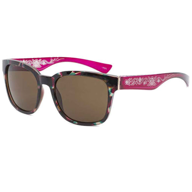 Jessie Strawberry Plant Designer Sunglasses by Donald Chretien - Burgundy/Teal/Tortoise