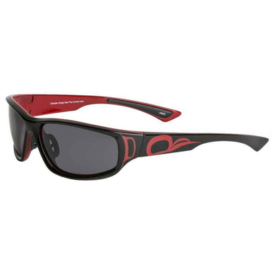 Niko Sunglasses with Bear Paw Design in Black/Red