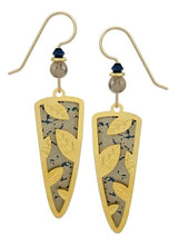 Load image into Gallery viewer, Adajio Earrings – Gold-Plated Leaves Overlay on Trowel Shape
