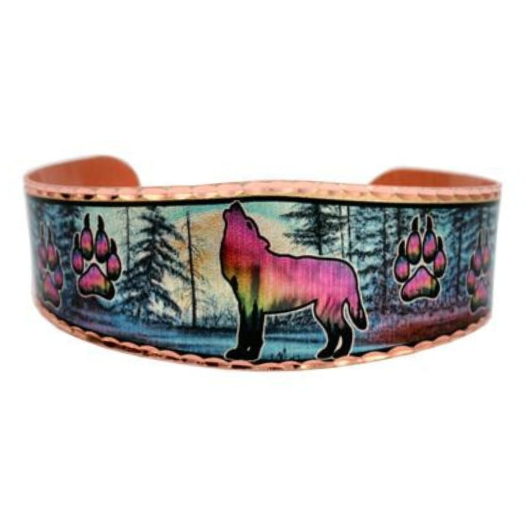 Alaska Wolf Design Bracelet that is silver-plated with diamond-cut designs on copper.