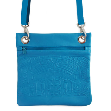 Leather Handbag in Crossbody Style with Embossed Bear Box Design - Turquoise