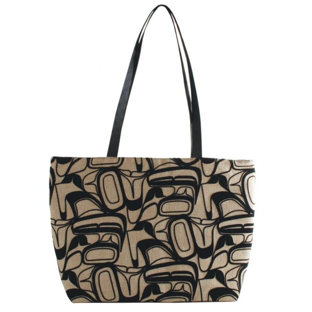 Abstract Eagle Design Zip Tote Bag in Beige by Kelly Robinson